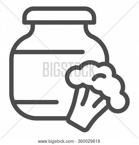 Stewed Cabbage And Broccoli Line Icon. Glass Canned Jar And Cabbage Outline Style Pictogram On White