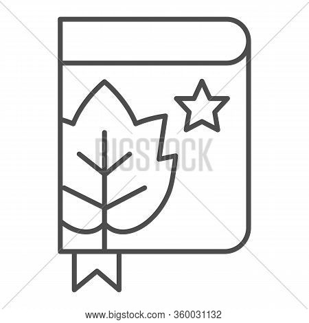 Book With Grape Leaf And Bookmark Thin Line Icon. Notes Of Grapes Growing Outline Style Pictogram On