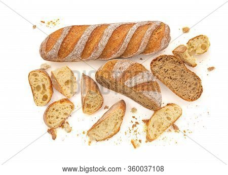Sliced Multigrain Rustic  Bread Isolated On A White Background. Rye Bread With Crusty Loaves And Cru