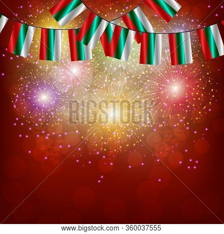 Bright Firework With Flags Bulgaria For Holidays. Background With Flag Of Bulgaria. Happy Bulgaria D