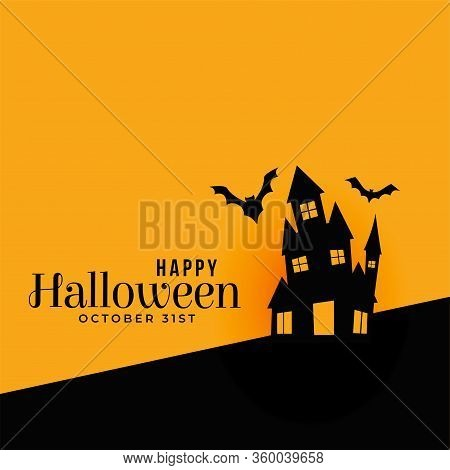Modern Happy Halloween Haunted House With Flying Bats Background Vector Design Illustration