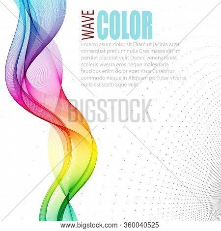 Abstract Wave Vector Background, Rainbow Waved Lines For Brochure, Website, Flyer Design. Spectrum W