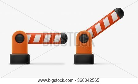 Illustration Of Realistic Plastic Cartoon Style Parking Barrier Gate With Shadow On White Background