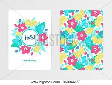 Cover Design With Floral Pattern And Round Frame. Hand Drawn Flowers. Colorful Artistic Background W