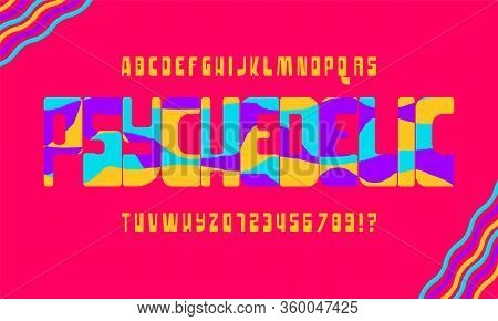 Handcrafted Font. Vector Illustration. An Alphabet In The Style Of 1960s .