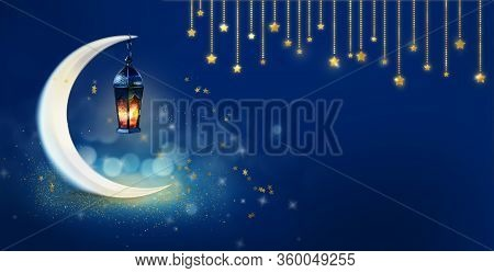 Ramadan Kareem Background Banner. Islamic Greeting Cards For Muslim Holidays And Ramadan. Blue Banne