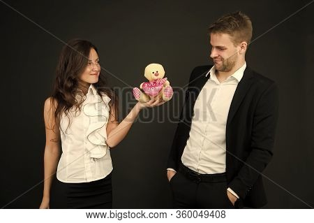 Unacceptable Initiative. Love And Romance. Gift With Love. Couple On Romantic Date. Formal Couple Wi