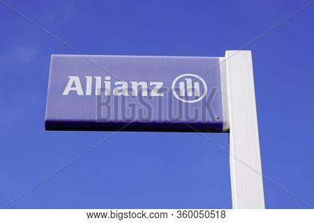 Bordeaux , Aquitaine / France - 10 25 2019 : Allianz Sign Shop Office Brand Financial Services Provi