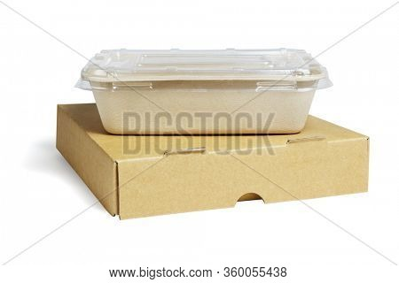 Takeaway Food Containers on White Background
