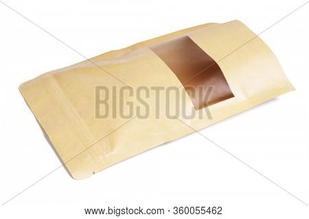 Product Packaging With Transparent Window on White Background
