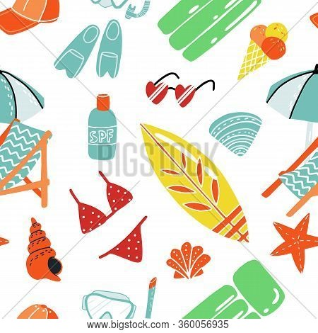 Summer And Beach Mood Vector Seamless Pattern For Wallpaper, Coverage, Textile, Fabric And Other Pri