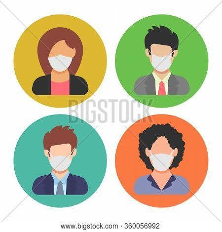 Avatar Icons Wearing Protective Face Mask. People In Flat Style With Medical Mask. Vector Illustrati