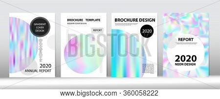 Holographic Gradient Vector Background. Fluid Holo Bright Trendy Layout. Rainbow Magazine Print Temp