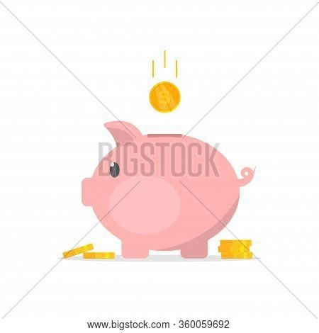 Piggy Bank With Coins Illustration In Flat Style. The Concept Of Save Money Or Open A Bank Deposit