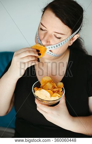Diet Restricts, Weight Loss, Eating Disorder. Anorexia And Bulimia Concept. Obese Woman With Unhealt