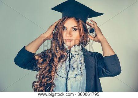 Portrait Closeup Beautiful Serious Latina Graduate Graduated Student Girl Young Woman Arranges Fixes