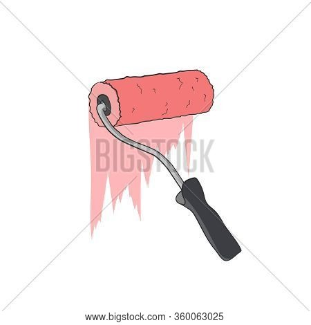 Paint Roller Red Emulsion. Wall Decoration. Painting Equipment. Vector Graphic Illustration. Drawing