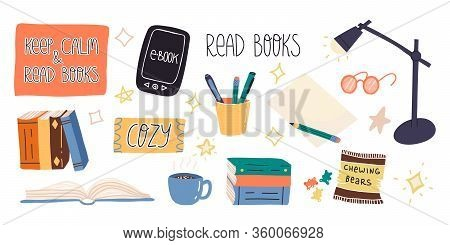 Fun Hand Drawn Enjoying Reading And Home Pastime And Set. Various Paper Books, E-reader, Mug With Ho