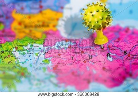 Covid-19 Outbreak Or New Coronavirus, 2019-ncov, Virus Pin In Ankara On Map Of Turkey. Covid 19-ncp