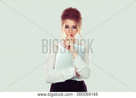 Shh. Woman Wide Eyed Asking For Silence Or Secrecy With Finger On Lips Hush Hand Gesture Light Green