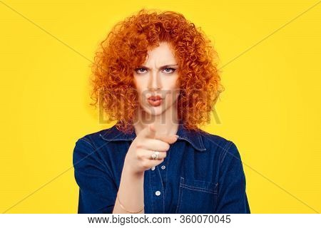 It's You! Portrait Angry Annoyed Redhead Curly Hair Woman Getting Mad Pointing Finger At You Camera