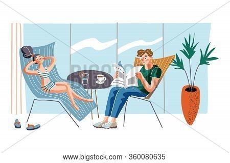 People On Recliners Flat Vector Illustration. Couple Chilling In Chaise Longues At Home Cartoon Char
