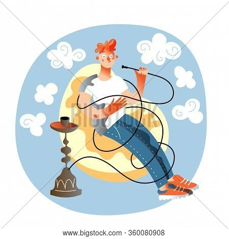 Vector Character Illustration Of Man Smoker. Young Guy Smokes Hookah Pipe And Sitting On Armchair. T