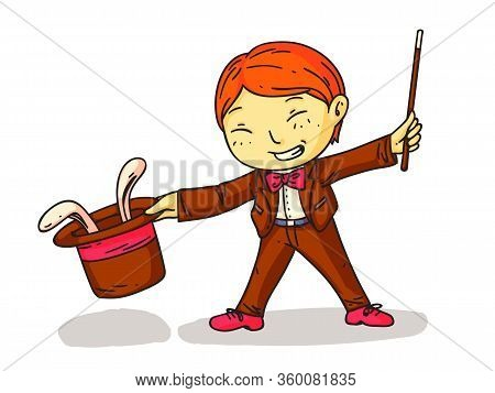 Cute Smiling Boy Magician With Eyes Closed Showing Magic Trick With Hare Hiding In Hat. Little Child