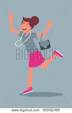 Happy Woman Jumping Flat Character. Cheerful Young Woman Isolated. Smiling Excited Caucasian America