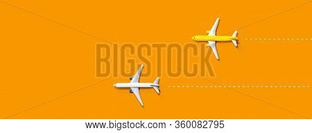 Flights Booking And Reservation Theme With Two Miniature Airplanes