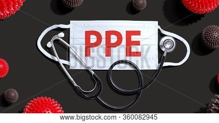 Ppe Coronavirus Theme With Medical Mask And Stethoscope