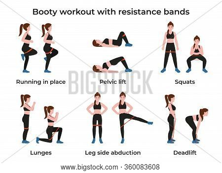 Set Booty Or Glutes Workout With Resistance Bands. Stay Home And Do Workout. Flat Vector Cartoon Mod