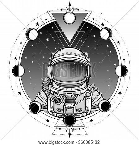 Animation Astronaut In A Space Suit. A Background - The Night Star Sky, Phases Of The Moon. Vector I