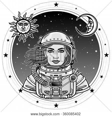 Animation Portrait Of The Woman Astronaut In A Open Space Suit. Background -  Star Sky, Symbols Of T