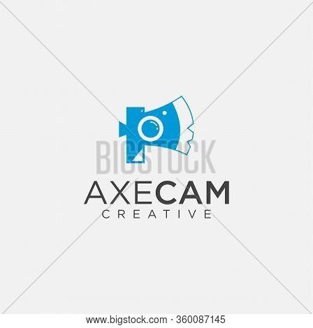 Camera Axe Photography Logo Design Template . Camera Hatchet Photography Logo Design Template .