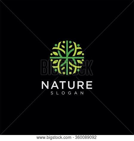 Circle Tree Logo Nature Vector Template . Organic Leaf Circle Logo Designs Inspiration