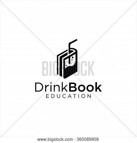 Drink Book Logo Design Education Silhouette Template Vector Stock Illustration . Beer Book Logo Blac