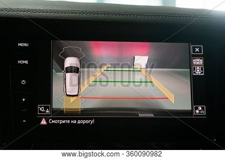 Novosibirsk, Russia - April  02, 2020  Volkswagen Touareg, Reverse Camera With Monitor,buttons - Det