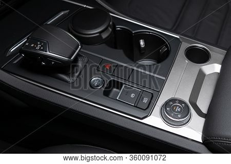 Novosibirsk, Russia - April  02, 2020  Volkswagen Touareg, Close-up View Of The Automatic Gearbox Le