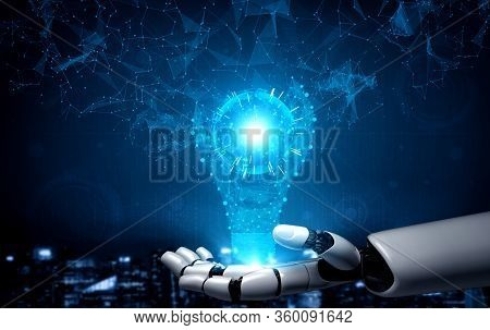 3D Rendering 3D Illustration Futuristic Robot Artificial Intelligence Concept. 3D Illustration