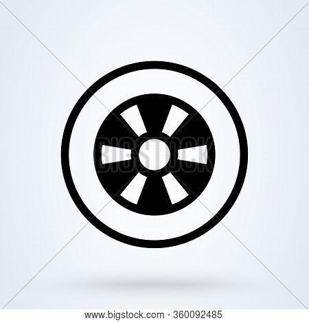Wheel Linear Icon. Vector Minimal Car Tyre Symbol