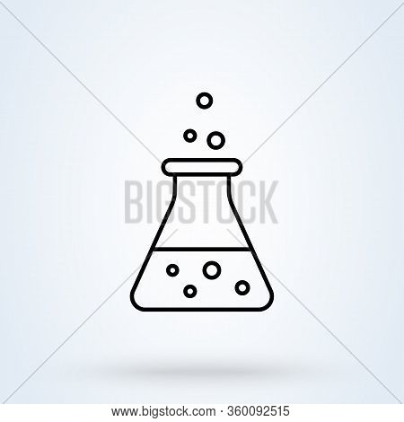 Thin Line Icon Erlenmeyer Flask Icon. Florence Flask Isolated On White Background. Vector Illustrati