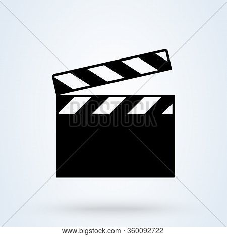 Movie Clapper Isolated On White. Black Open Clapperboard. Vector Illustration