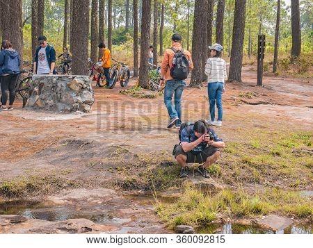 Loei/thailand-17 Feb 2019:unacquainted Tourist On Anodard Pond On Phu Kradueng Mountain National Par