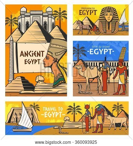 Egypt Travel Vector Design With Ancient Egyptian Pharaoh Pyramids And Gods. History And Culture Symb