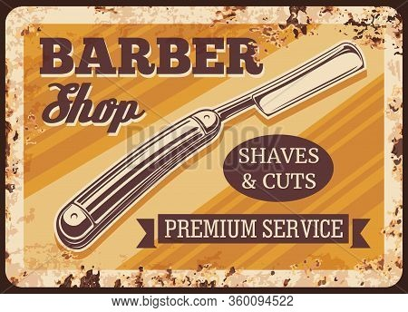 Straight Razor Blade Metal Rusty Plate. Barber Shop Vector Vintage Poster With Grunge Background. Ge