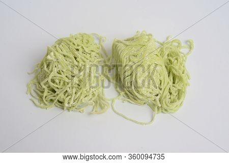 Jade Noodle, Vegetable Noodles, Green Noodles On White Background