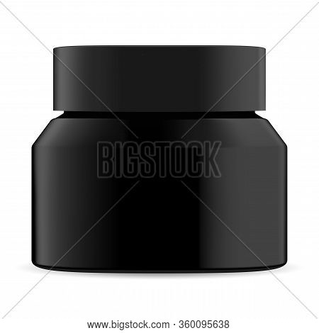 Black Cosmetic Jar. Cream Bottle Mockup Blank. Charcoal Facial Mask Round Container. Premium Wax Rea