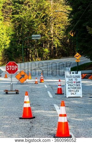 North Vancouver, Canada - April 7, 2020: Barricades Control Access To Mt. Seymour Provincial Park An