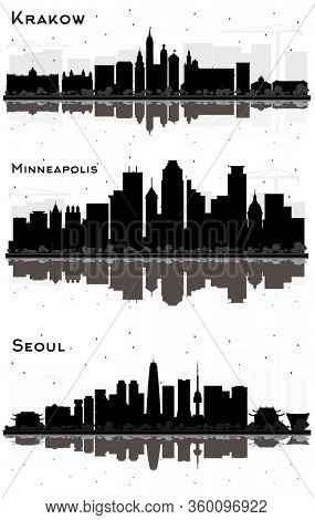 Krakow Poland, Seoul Korea and Minneapolis Minnesota USA City Skyline Silhouettes with Black Buildings and Reflections Isolated on White. Business Travel and Tourism Concept. Cityscapes with Landmarks